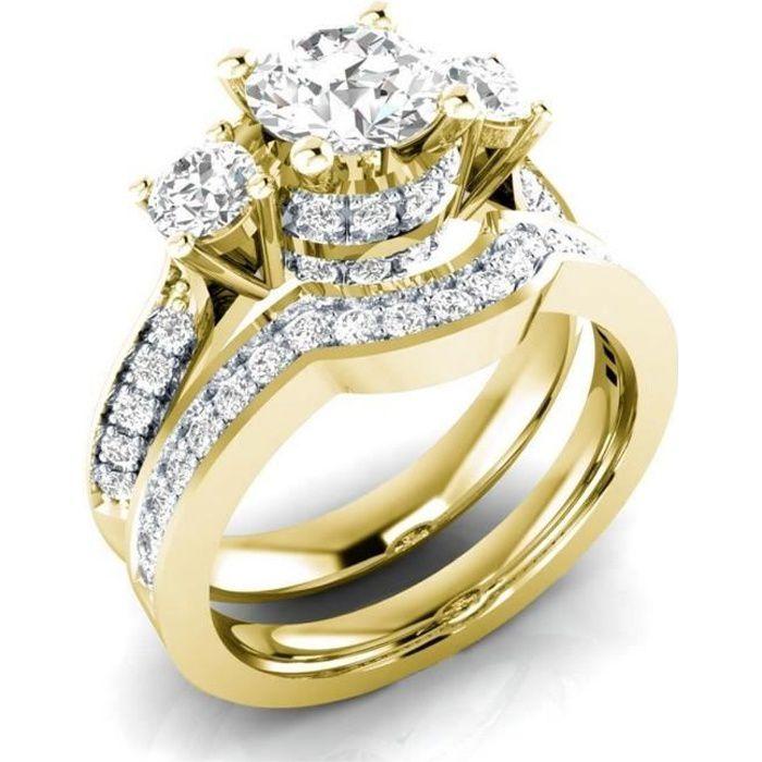 Set Mariages Anneau femme 1.5ct Lab diamant Bague or jaune 18 carats Rempli emsembles de Bijoux Weddings Taille 57,