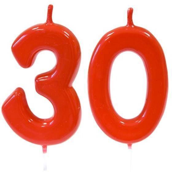 Pack bougie rouge chiffre 30 sur pique pour décoration gâteau anniversaire REF/BGA1100