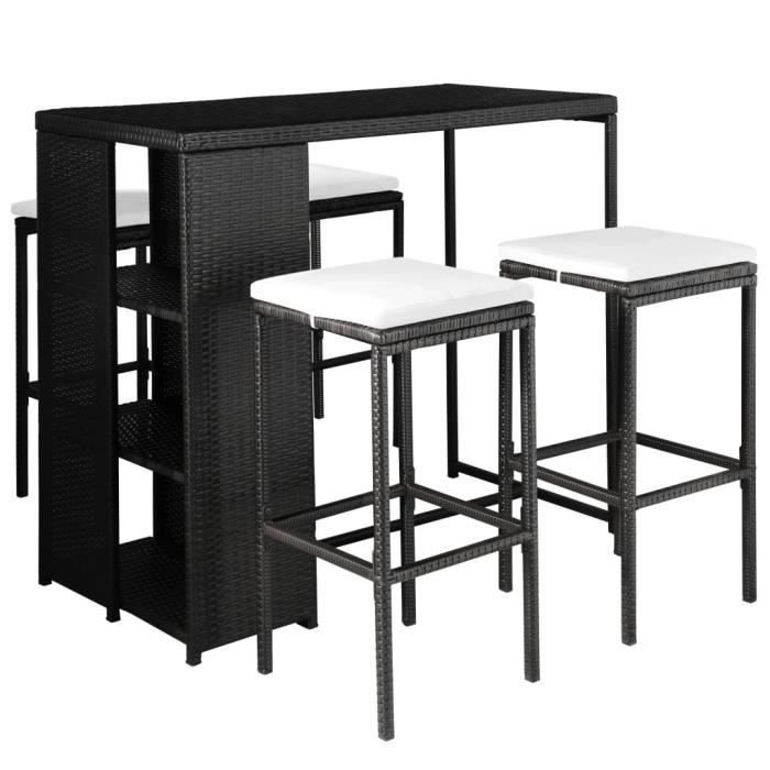 table de bar d'extérieur Salon de Jardin résine tressée noir avec coussin : blanc crème pour patio