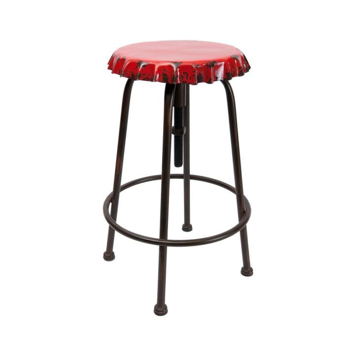 tabouret vintage soda rouge en fer 30x63cm achat vente tabouret fer cdiscount. Black Bedroom Furniture Sets. Home Design Ideas