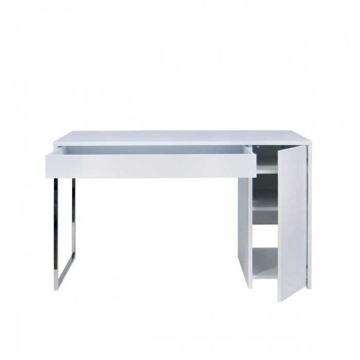 Bureau design blanc et chrome prado coloris chrome achat for Bureau blanc design