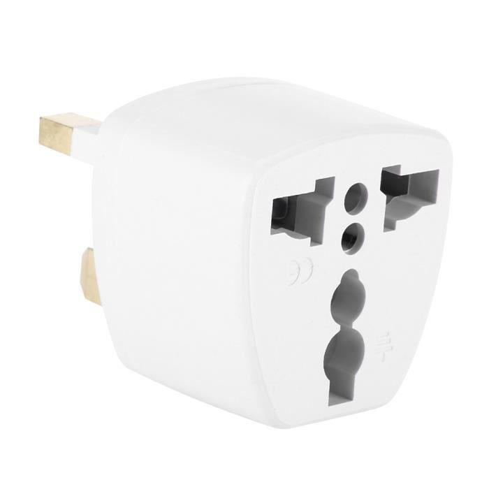 Blanc C/âble adaptateur de prise UK vers prise europ/éenne
