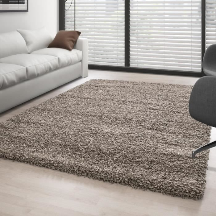 tapis shaggy pile longue couleur unique taupe 140x140 cm carr achat vente tapis cdiscount. Black Bedroom Furniture Sets. Home Design Ideas