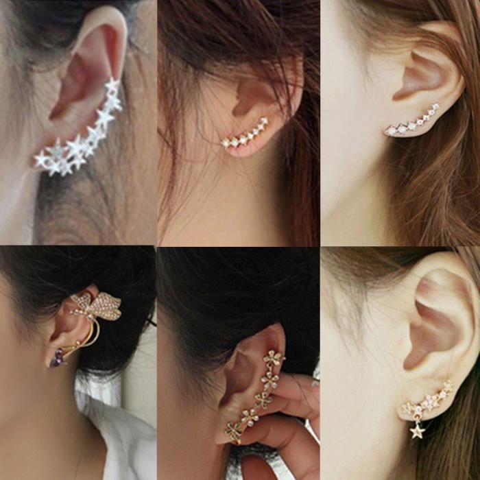 Boucles d/'oreilles FEMME ETOILE argent /& Cristal NEUF