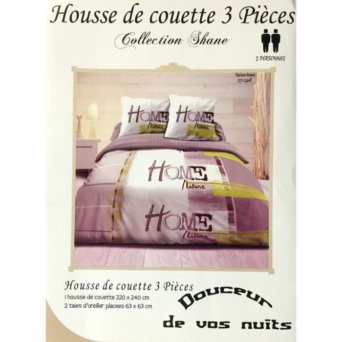 housse de couette 100 coton 220 x 240cm 2 taie achat. Black Bedroom Furniture Sets. Home Design Ideas