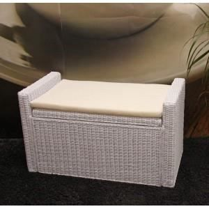 banquette coffre de rangement en rotin blanc achat vente banquette rotin coton polyester. Black Bedroom Furniture Sets. Home Design Ideas