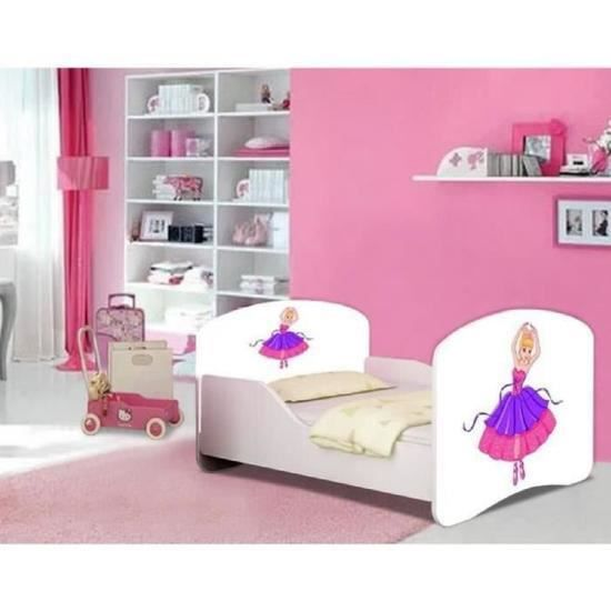 lit fille danseuse ballerine sommier et matelas 140x70cm. Black Bedroom Furniture Sets. Home Design Ideas