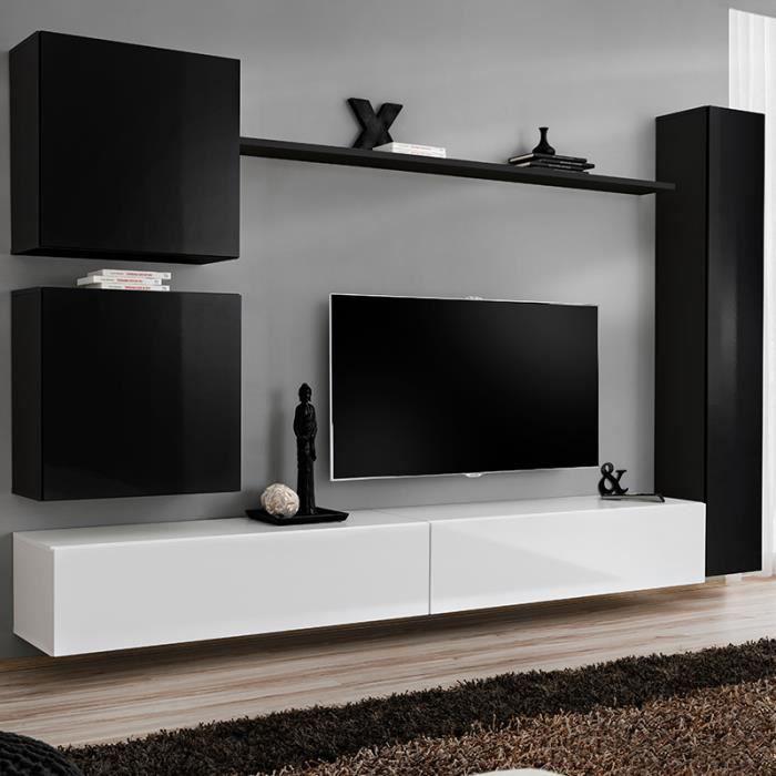 Meuble Tv Suspendu Design Noir Et Blanc Latiano 2 Noir L 280 X P 40 X H 180 Cm