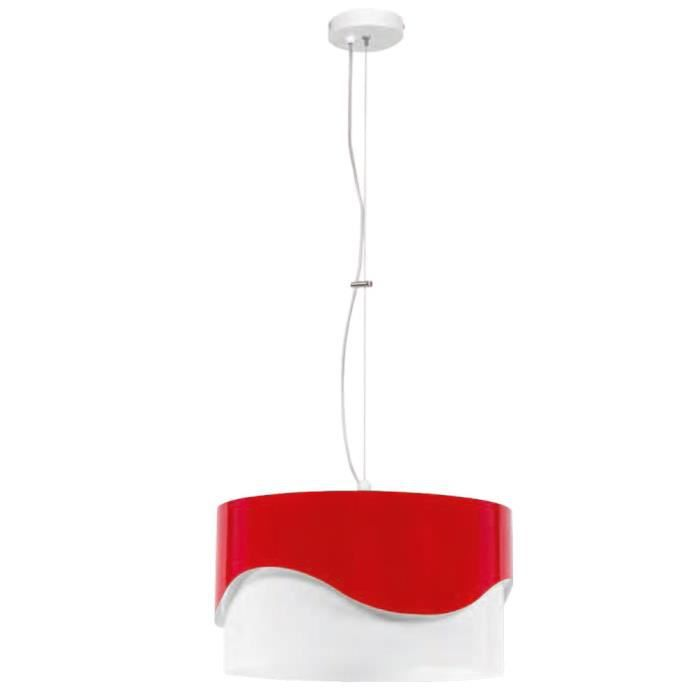 suspension lustre luminaire plafond m tal rouge blanc chambre salle de s jour cuisine achat. Black Bedroom Furniture Sets. Home Design Ideas