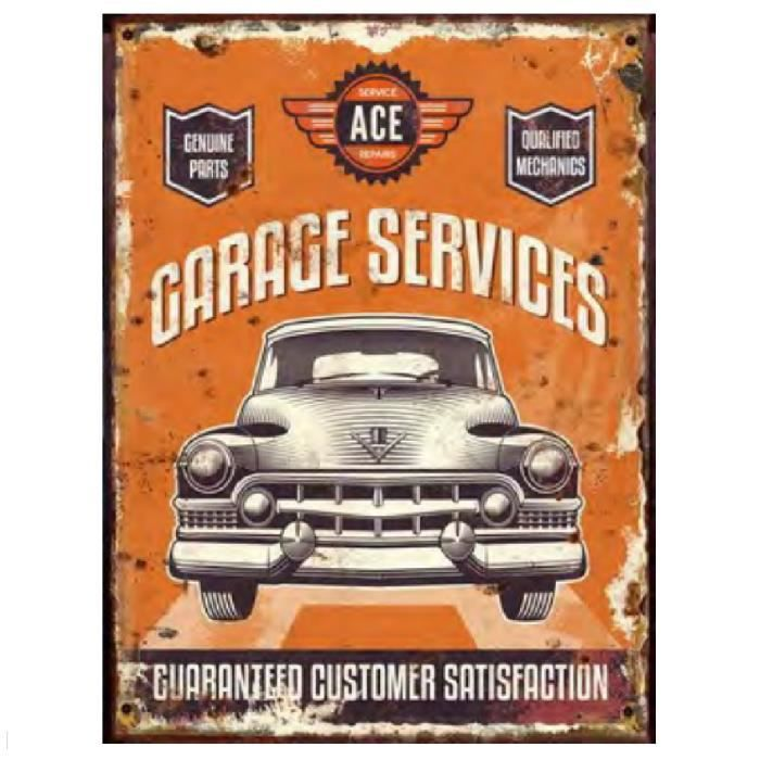 plaque d corative en m tal garage services orange d co d coration murale r tro vintage. Black Bedroom Furniture Sets. Home Design Ideas