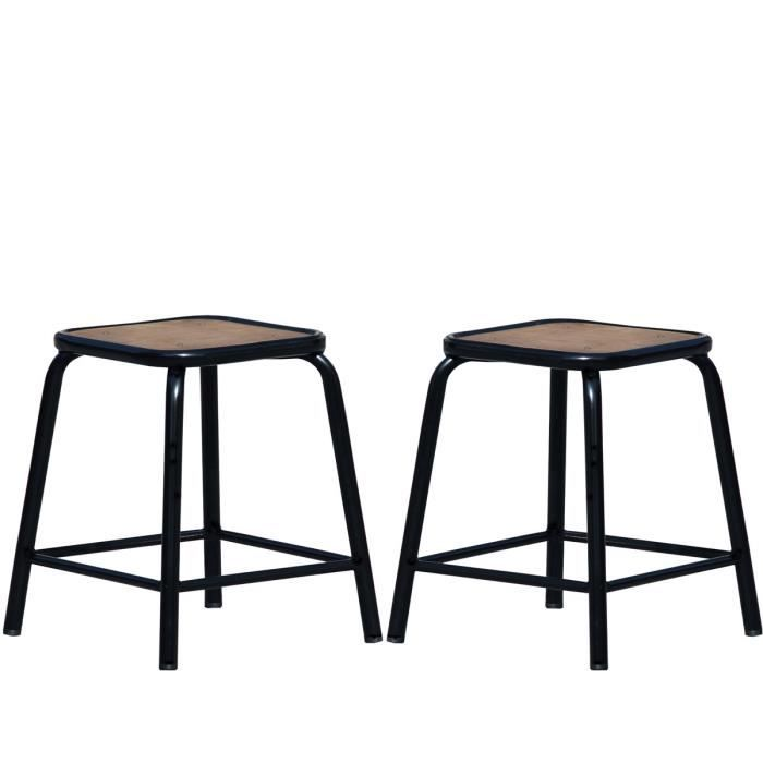 lot de 2 tabourets bas vintage maitresse couleu achat. Black Bedroom Furniture Sets. Home Design Ideas