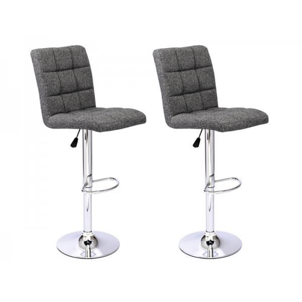 tabouret de bar enzo tissu gris lot de 2 achat vente tabouret cdiscount. Black Bedroom Furniture Sets. Home Design Ideas