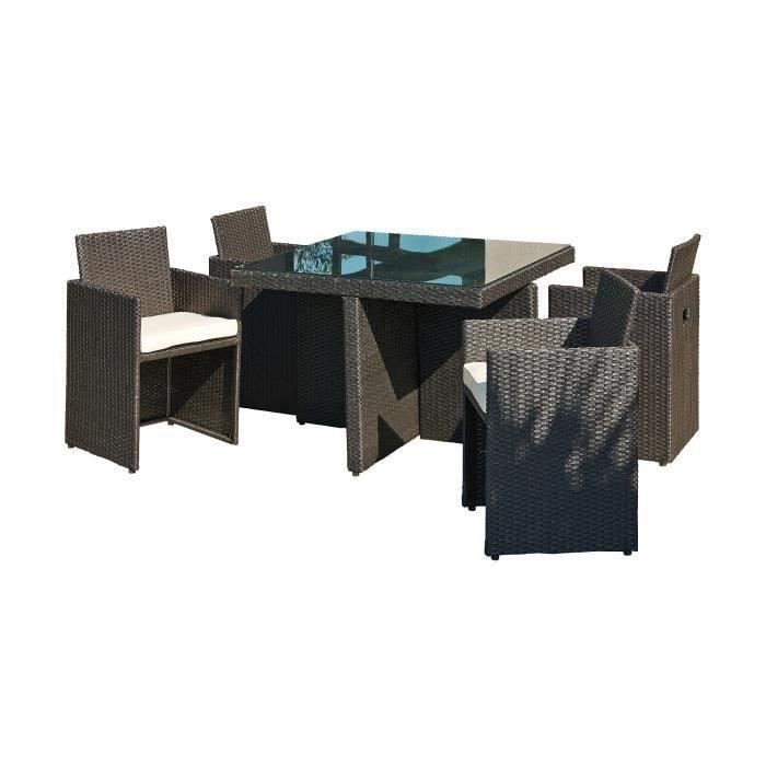 salon de jardin 4 places r sine tress e noir achat vente salon de jardin salon de jardin 4. Black Bedroom Furniture Sets. Home Design Ideas