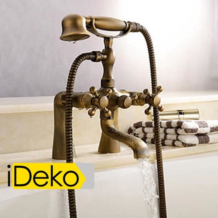 ideko robinet mitigeur baignoire lavabo salle de bain design r tro t l phone flexible achat. Black Bedroom Furniture Sets. Home Design Ideas