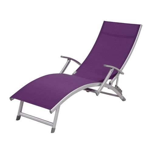 Transat chaise longue 4 positions ibiza violet achat for Chaise longue de salon