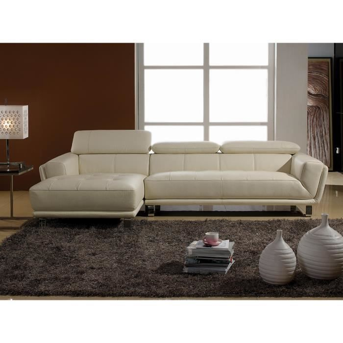 canap cuir luxe angle celine gauche beige achat vente canap sofa divan cdiscount. Black Bedroom Furniture Sets. Home Design Ideas