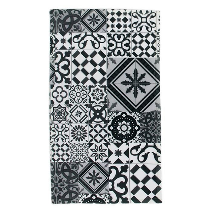 tapis motifs carreaux de ciments noir gris 45x75cm toodoo 45 x 75 cm gris achat vente tapis. Black Bedroom Furniture Sets. Home Design Ideas