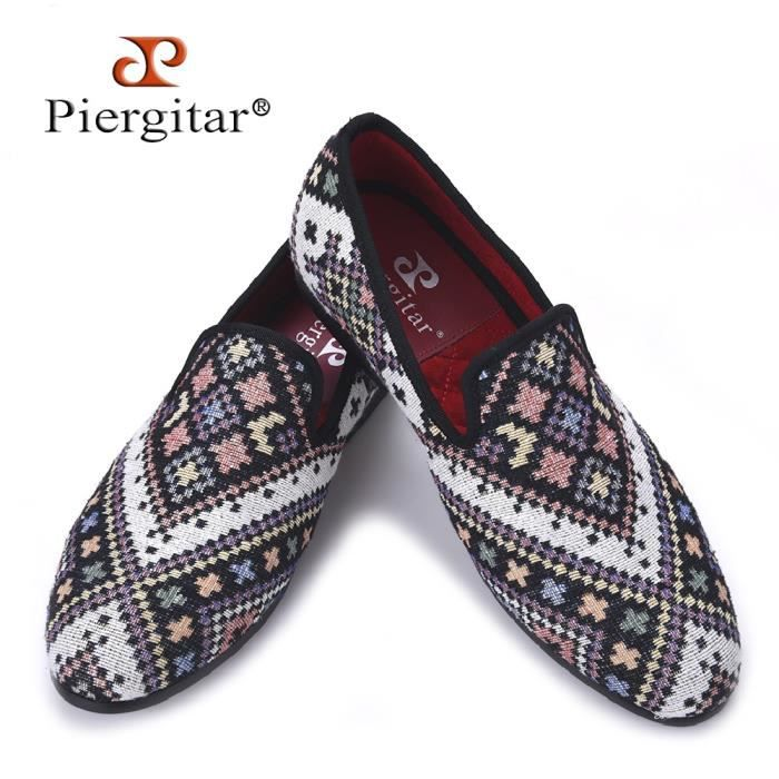 Brand New Couleurs mélangées Hommes Mocassins ethnique style Lattice homme Souliers simple Party Smoking Slipper Flat Plus Size