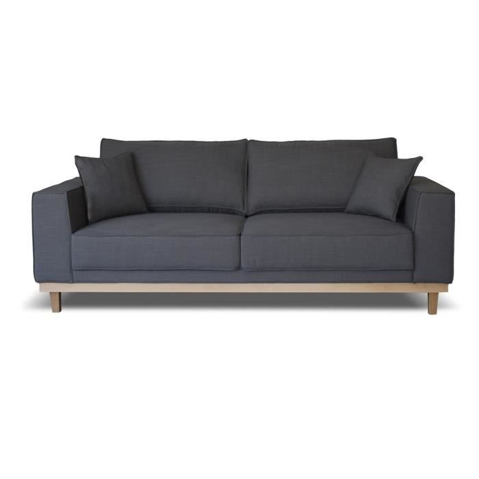 Canap fixe 3 places switsofa solna gris achat vente canap sofa diva - Canape fixe 3 places ...