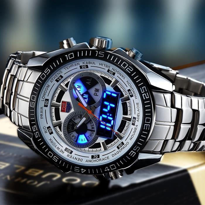 LUXE militaire sport Homme Dual-Display Multi-Function acier inoxydable montre-bracelet