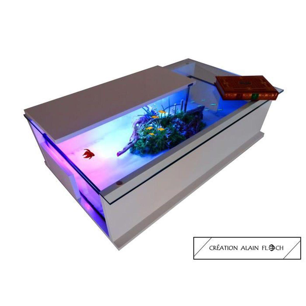 Mettre Des Roulettes Sous Une Table table basse aquarium terrarium blanca avec 5 roulettes