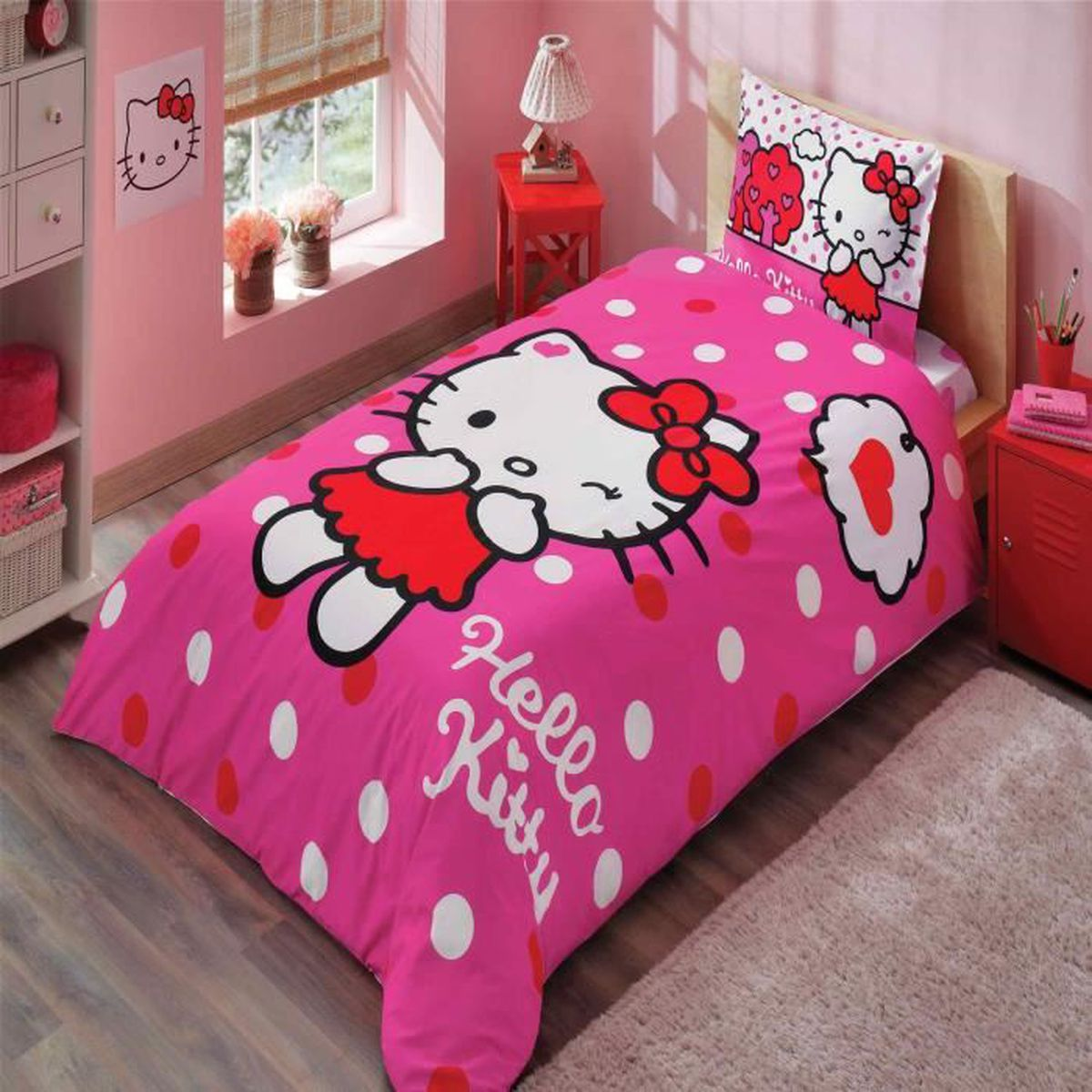 hello kitty imprim e 100 coton 1 personne parure de couette 3 pcs housse de couette 160x220 cm. Black Bedroom Furniture Sets. Home Design Ideas