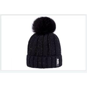 BONNET - CAGOULE 1 Bonnet POMPOM NOIR chaud et doux en tricot doubl