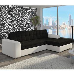 CANAPÉ - SOFA - DIVAN Canapé d'angle convertible noir et blanc BRENO 5 A