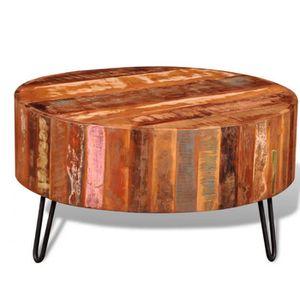 TABLE BASSE Table basse ronde en bois solide recyclé