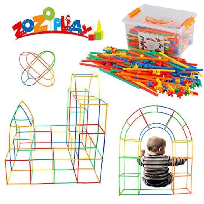 Jeu D'Assemblage KDRPB Constructeur de paille tige construction jouets 400 pièces pailles et connecteurs ensembles de construction m