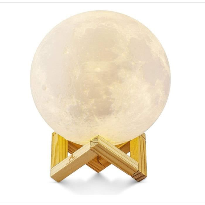 Lune 3D Veilleuse LED Lampe Luna Tactile 3 Couleurs, 15cm/5,9inch Diamètre, USB Rechargeable Veilleuse Lune pour Chambre Salon Café