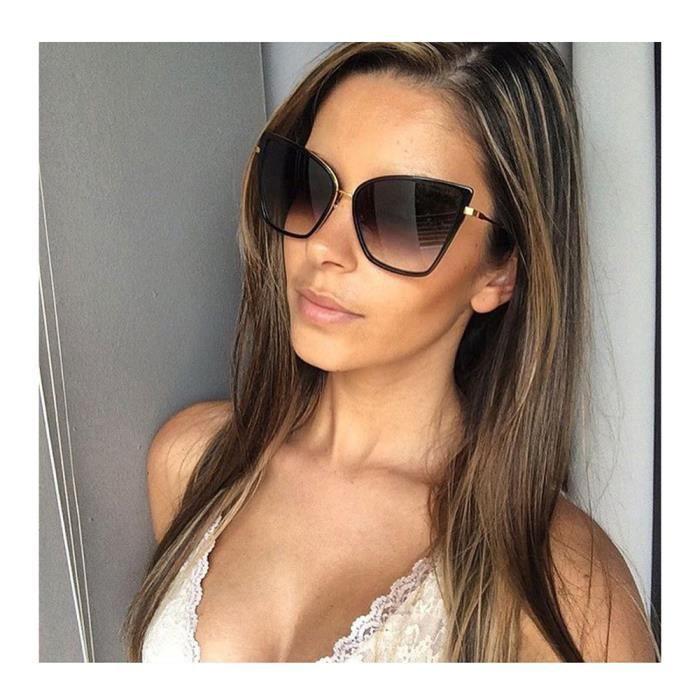 Miroir Classique Gradient lunettes de Soleil Femmes Marque de sol Mode Femme Noir Nuances