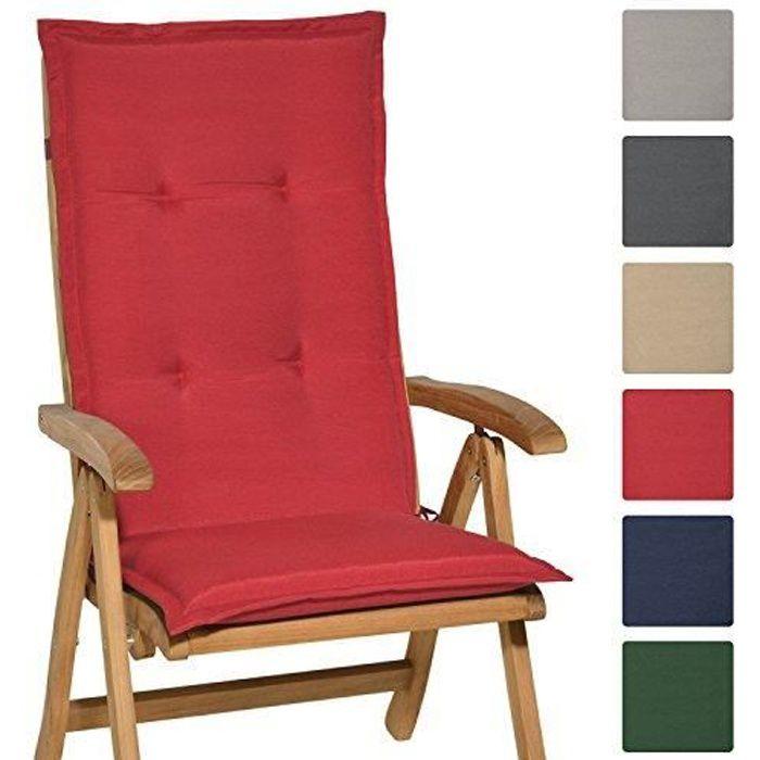 Beautissu Coussin de Chaise Longue Loft HL 120x50x6cm Rouge - Fauteuil Jardin Extérieur - Dossier Haut ( chaise non incluse )