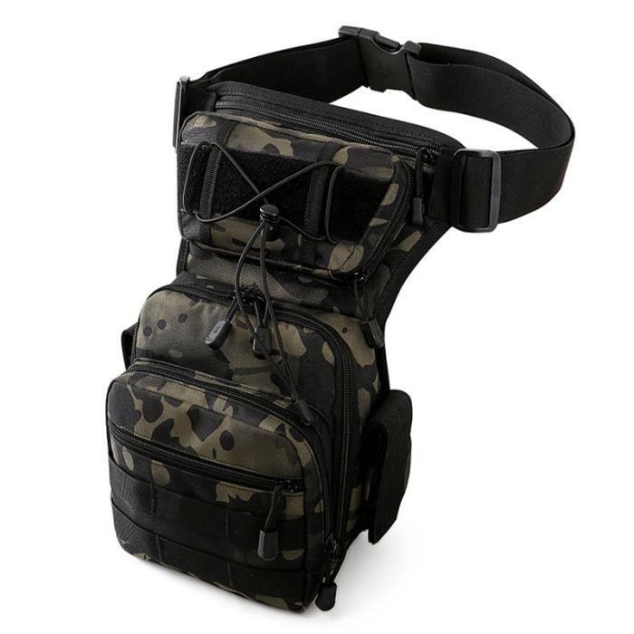 Black Camo -Sac de jambe pour hommes, ceinture utilitaire, tactique militaire, randonnée, hanche, moto, Sport en plein air, poitrine