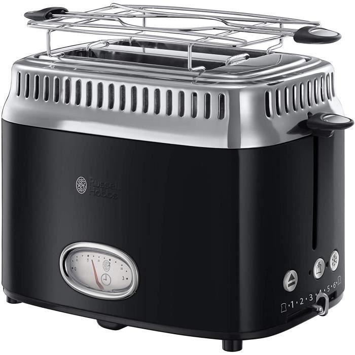 Russell Hobbs 21681-56 Toaster Grille-Pain Retro, 3 Fonctions, Température Ajustable, Réchauffe Viennoiserie, Design Vintage - Noir