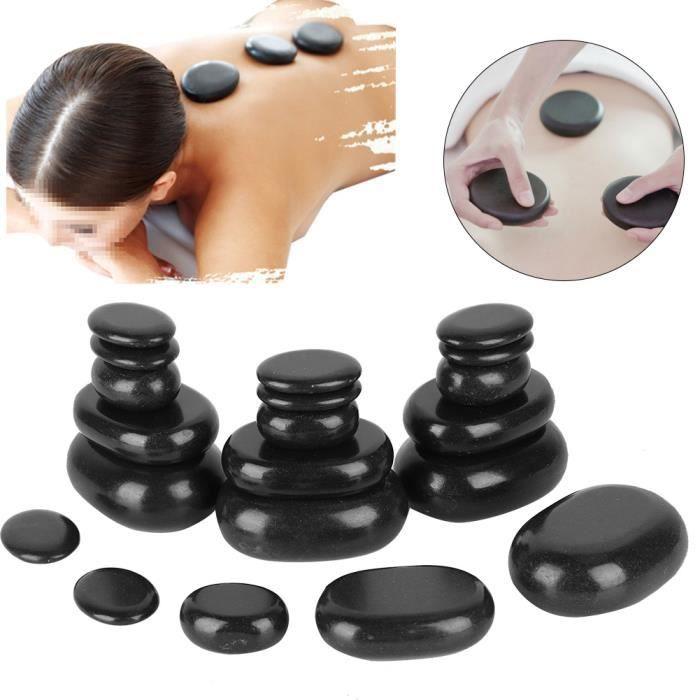 20pcs Kit Pierres Chaudes de Massage, Pierre de Massage Basalte avec 4 Tailles pour Hydrater la Peau et Atténuer le Stress Mental