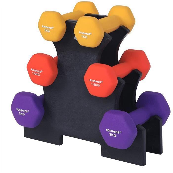SONGMICS Haltère 1 Paire, Salle de Sport , Musculation, Entraînement Revêtement en Vinyle antiglisse, 2 x 1,0 kg + 2 x 1,5 kg + 2 x