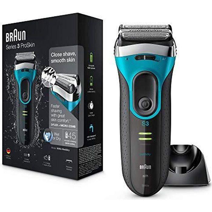 Braun Series 3 ProSkin 3080s Rasoir Électrique Homme Barbe, Noir-Bleu - Rasoir Électrique Rechargeable + Base De Recharg 3080