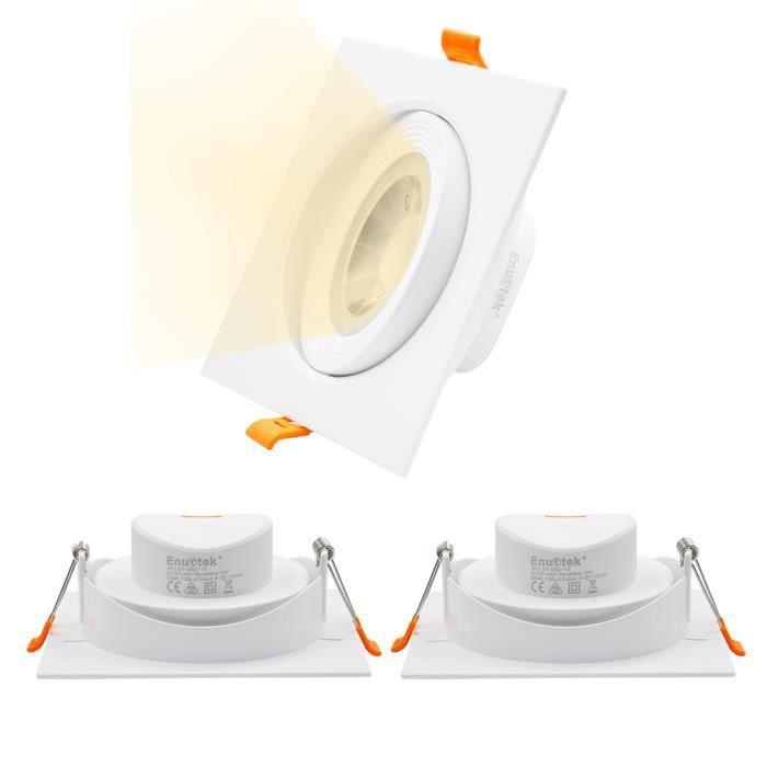 Lampes Spot a Encastrer LED Encastrable Plafond Carré Orientable 12W Diametre Plafond 120-130MM