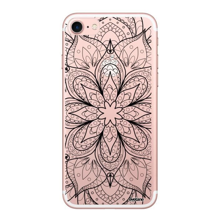 Coque iPhone 7 iPhone 8 rigide transparente Mandala noir Ecriture Tendance et Design Evetane