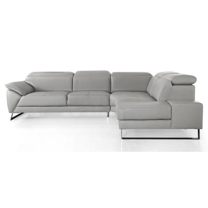Canapé d'angle droit en cuir RAPHAEL - Gris - Droit