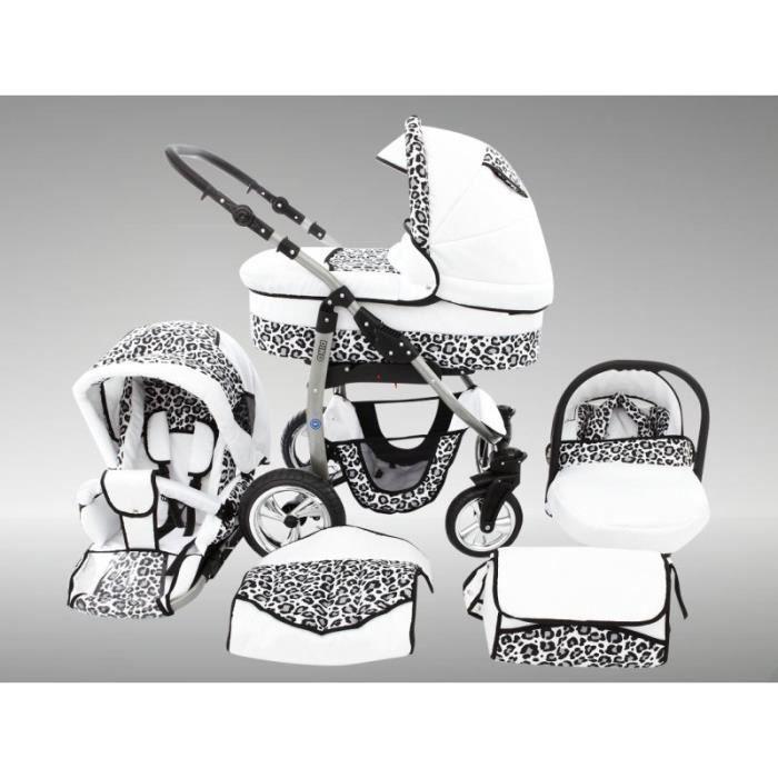 Dino Poussette Trio Nacelle Poussette Canne Siège auto Chancelière Accessoires 32 blanc & léopard de neige