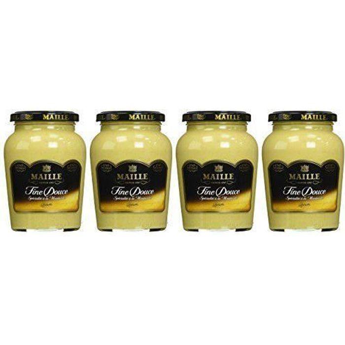 MAILLE Spécialité à la Moutarde Fine Douce Bocal 370 g - Lot de 4