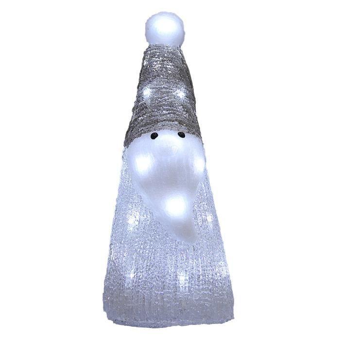 Monzana - Figurine Lumineuse LED en Acrylique - décoration de Noël - Père noël Blanc Lumineux - Illumination de noël