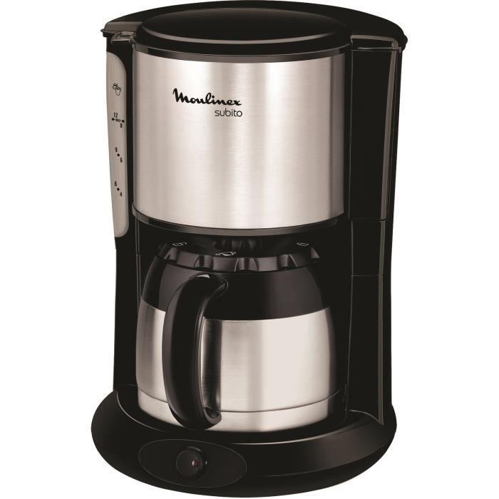 MOULINEX FT360811 Cafetière filtre avec verseuse isotherme SUBITO - 8 à 12 tasses - Noir et Inox