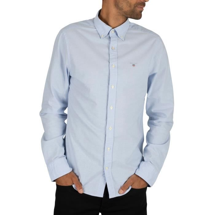Gant Homme Chemise Oxford à col boutonné, Bleu