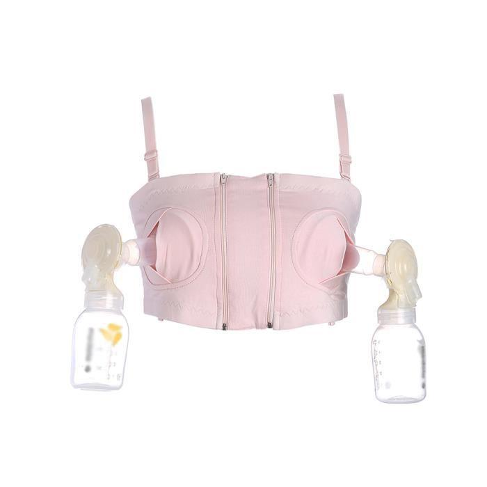 Femme Tire Lait Mains Libres Maternité Breast pump Gorge D'Allaitement Coton Confort Soutien-gorge Rose