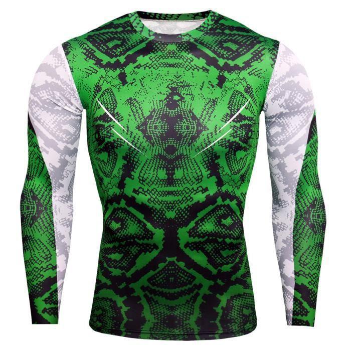 Combinaison de Compression Pour Homme Séchage Ultra Rapide Tee Shirt À Manche Longue De Running Fitness Gym Tops,Vert