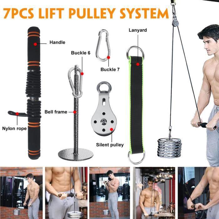 7Pcs Fitness Poulie Système de câble DIY Chargement Broche de Levage Triceps Machine Corde entraînement Longueur réglable Home Gym