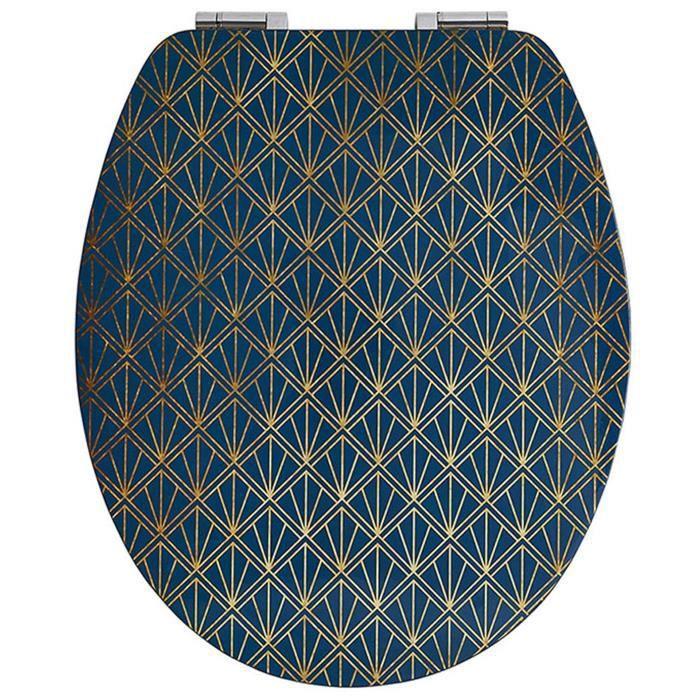 Abattant wc diplomat déco bleu - Dim : 37 X 48 cm